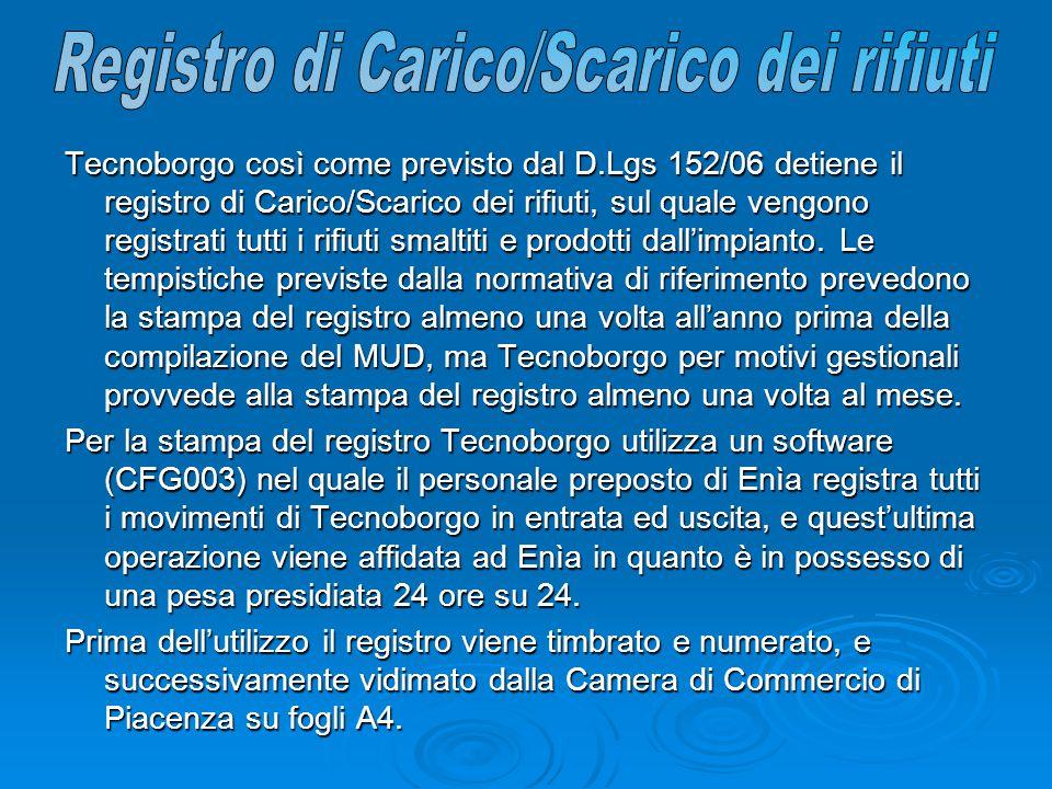 Tecnoborgo così come previsto dal D.Lgs 152/06 detiene il registro di Carico/Scarico dei rifiuti, sul quale vengono registrati tutti i rifiuti smaltiti e prodotti dall'impianto.