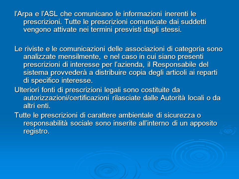 l'Arpa e l'ASL che comunicano le informazioni inerenti le prescrizioni. Tutte le prescrizioni comunicate dai suddetti vengono attivate nei termini pre