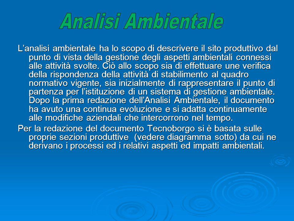 L'analisi ambientale ha lo scopo di descrivere il sito produttivo dal punto di vista della gestione degli aspetti ambientali connessi alle attività sv