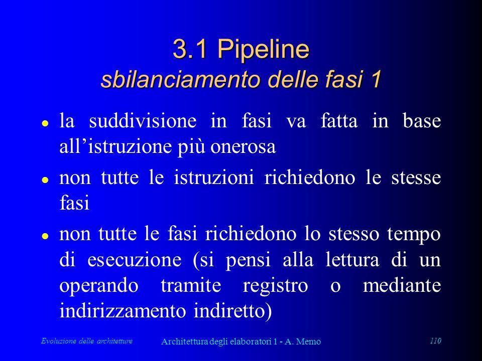 Evoluzione delle architetture Architettura degli elaboratori 1 - A. Memo 110 3.1 Pipeline sbilanciamento delle fasi 1 l la suddivisione in fasi va fat