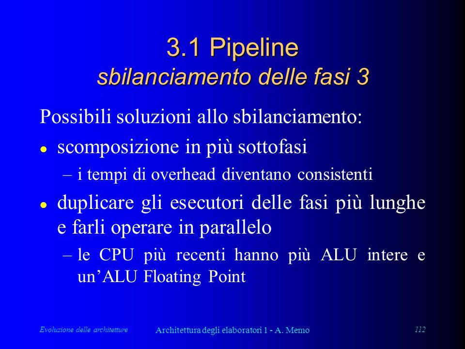 Evoluzione delle architetture Architettura degli elaboratori 1 - A. Memo 112 3.1 Pipeline sbilanciamento delle fasi 3 Possibili soluzioni allo sbilanc