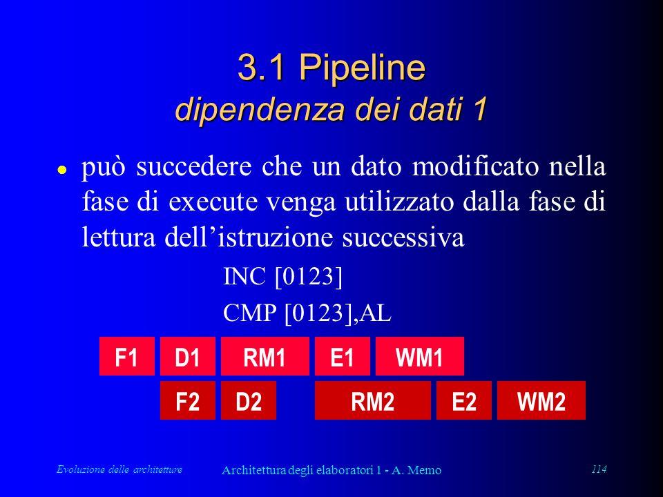 Evoluzione delle architetture Architettura degli elaboratori 1 - A. Memo 114 3.1 Pipeline dipendenza dei dati 1 l può succedere che un dato modificato
