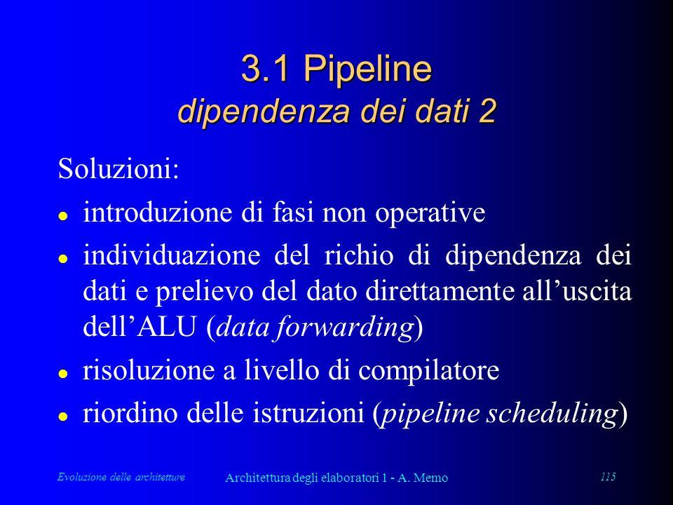 Evoluzione delle architetture Architettura degli elaboratori 1 - A. Memo 115 3.1 Pipeline dipendenza dei dati 2 Soluzioni: l introduzione di fasi non