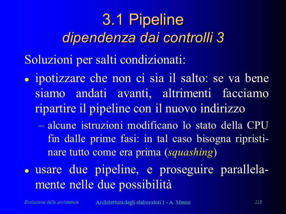 Evoluzione delle architetture Architettura degli elaboratori 1 - A. Memo 118 3.1 Pipeline dipendenza dai controlli 3 Soluzioni per salti condizionati: