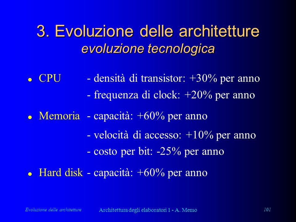 Evoluzione delle architetture Architettura degli elaboratori 1 - A. Memo 101 3. Evoluzione delle architetture evoluzione tecnologica l CPU- densità di