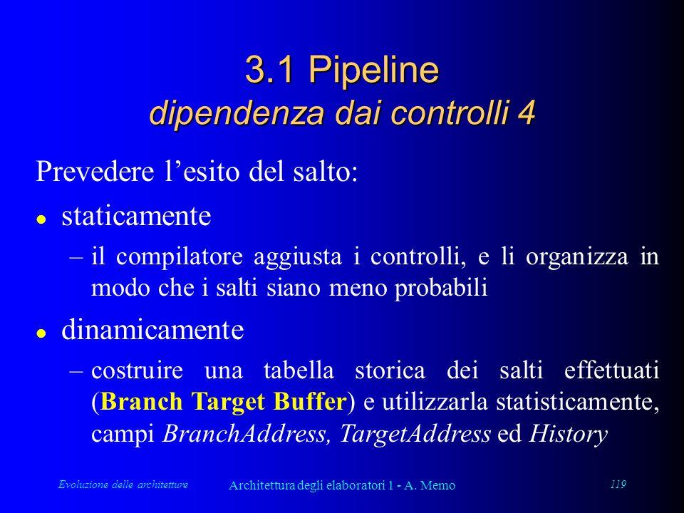 Evoluzione delle architetture Architettura degli elaboratori 1 - A. Memo 119 3.1 Pipeline dipendenza dai controlli 4 Prevedere l'esito del salto: l st