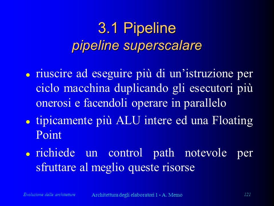 Evoluzione delle architetture Architettura degli elaboratori 1 - A. Memo 121 3.1 Pipeline pipeline superscalare l riuscire ad eseguire più di un'istru