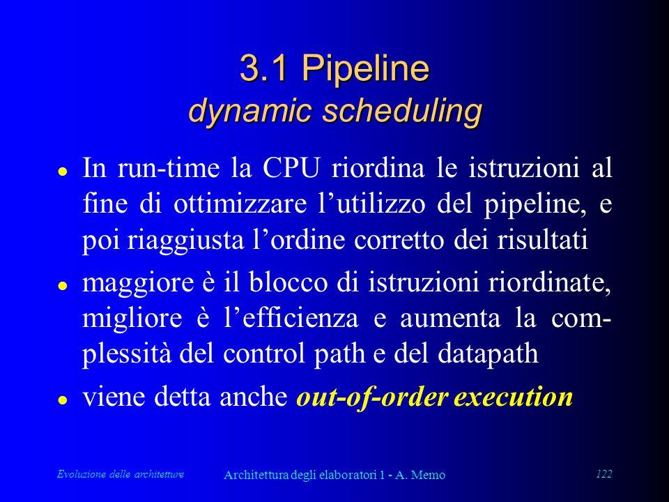 Evoluzione delle architetture Architettura degli elaboratori 1 - A. Memo 122 3.1 Pipeline dynamic scheduling l In run-time la CPU riordina le istruzio
