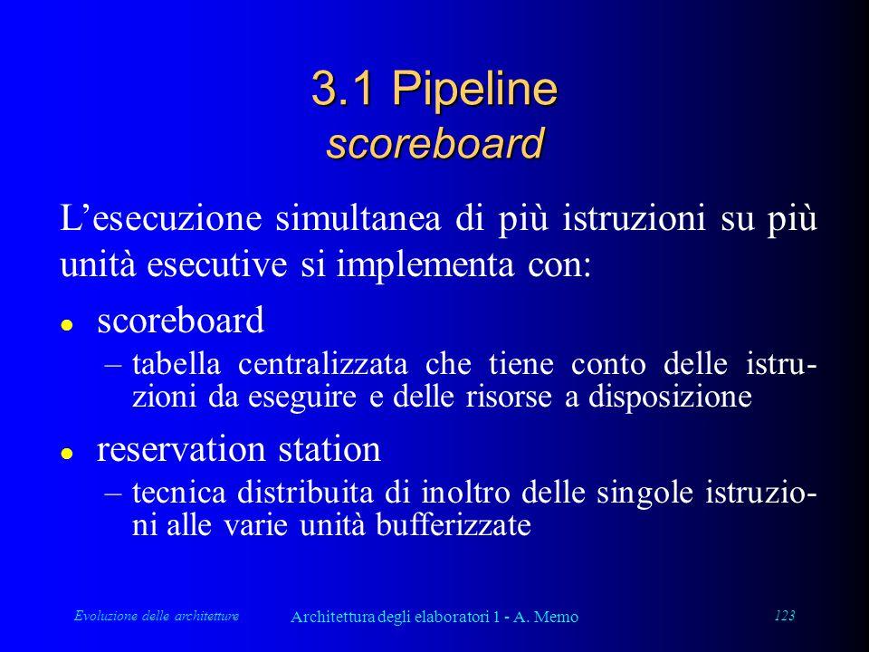 Evoluzione delle architetture Architettura degli elaboratori 1 - A. Memo 123 3.1 Pipeline scoreboard L'esecuzione simultanea di più istruzioni su più