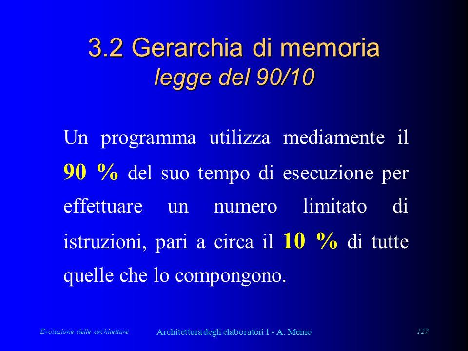 Evoluzione delle architetture Architettura degli elaboratori 1 - A. Memo 127 3.2 Gerarchia di memoria legge del 90/10 Un programma utilizza mediamente