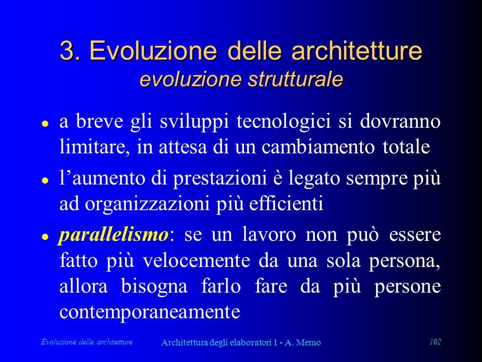 Evoluzione delle architetture Architettura degli elaboratori 1 - A. Memo 102 3. Evoluzione delle architetture evoluzione strutturale l a breve gli svi