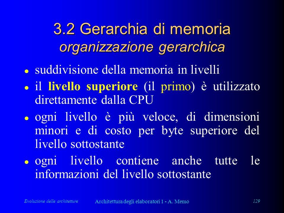 Evoluzione delle architetture Architettura degli elaboratori 1 - A. Memo 129 3.2 Gerarchia di memoria organizzazione gerarchica l suddivisione della m