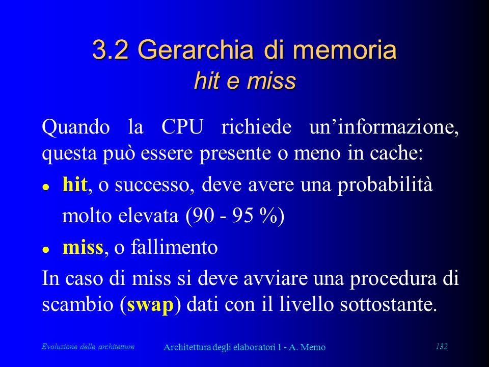 Evoluzione delle architetture Architettura degli elaboratori 1 - A. Memo 132 3.2 Gerarchia di memoria hit e miss Quando la CPU richiede un'informazion