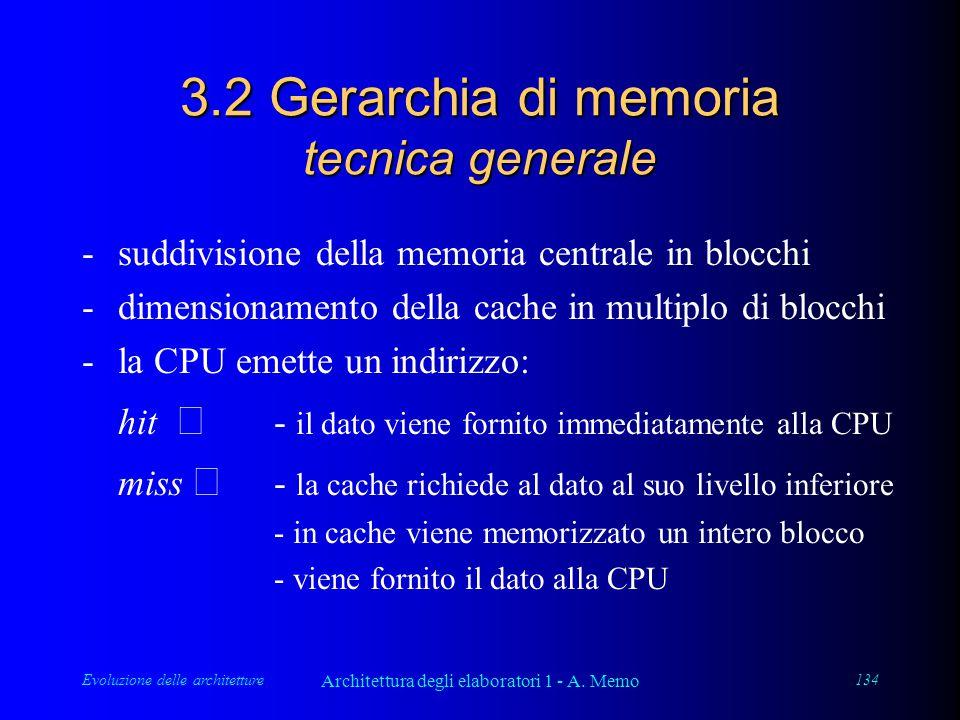 Evoluzione delle architetture Architettura degli elaboratori 1 - A. Memo 134 3.2 Gerarchia di memoria tecnica generale - suddivisione della memoria ce