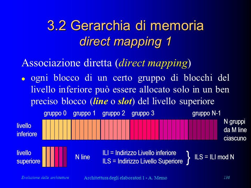 Evoluzione delle architetture Architettura degli elaboratori 1 - A. Memo 136 3.2 Gerarchia di memoria direct mapping 1 Associazione diretta (direct ma