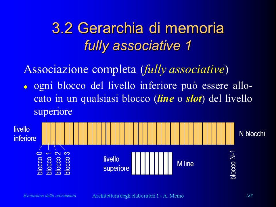 Evoluzione delle architetture Architettura degli elaboratori 1 - A. Memo 138 3.2 Gerarchia di memoria fully associative 1 Associazione completa (fully