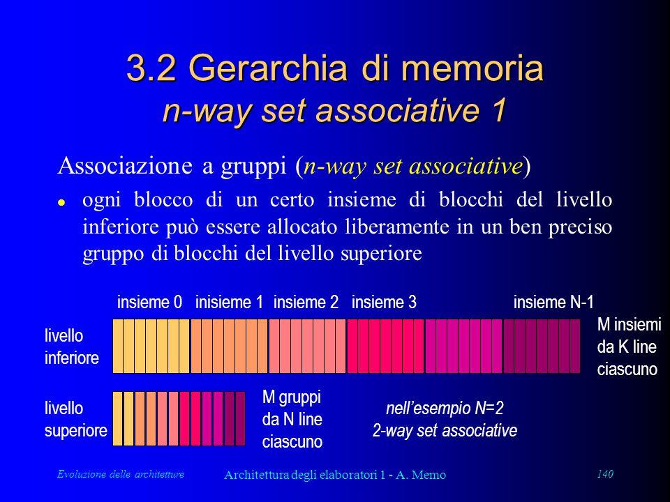 Evoluzione delle architetture Architettura degli elaboratori 1 - A. Memo 140 3.2 Gerarchia di memoria n-way set associative 1 Associazione a gruppi (n