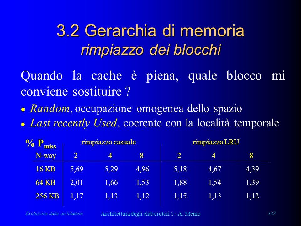 Evoluzione delle architetture Architettura degli elaboratori 1 - A. Memo 142 3.2 Gerarchia di memoria rimpiazzo dei blocchi Quando la cache è piena, q