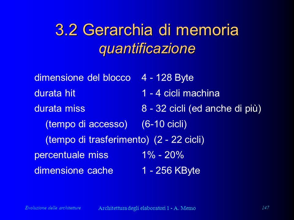 Evoluzione delle architetture Architettura degli elaboratori 1 - A. Memo 147 3.2 Gerarchia di memoria quantificazione dimensione del blocco4 - 128 Byt