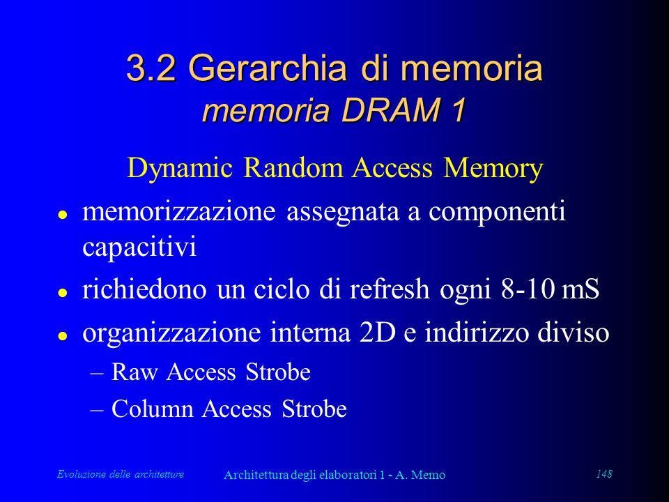 Evoluzione delle architetture Architettura degli elaboratori 1 - A. Memo 148 3.2 Gerarchia di memoria memoria DRAM 1 Dynamic Random Access Memory l me