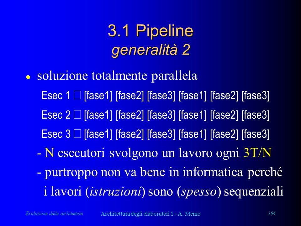 Evoluzione delle architetture Architettura degli elaboratori 1 - A. Memo 104 3.1 Pipeline generalità 2 l soluzione totalmente parallela Esec 1  [fase