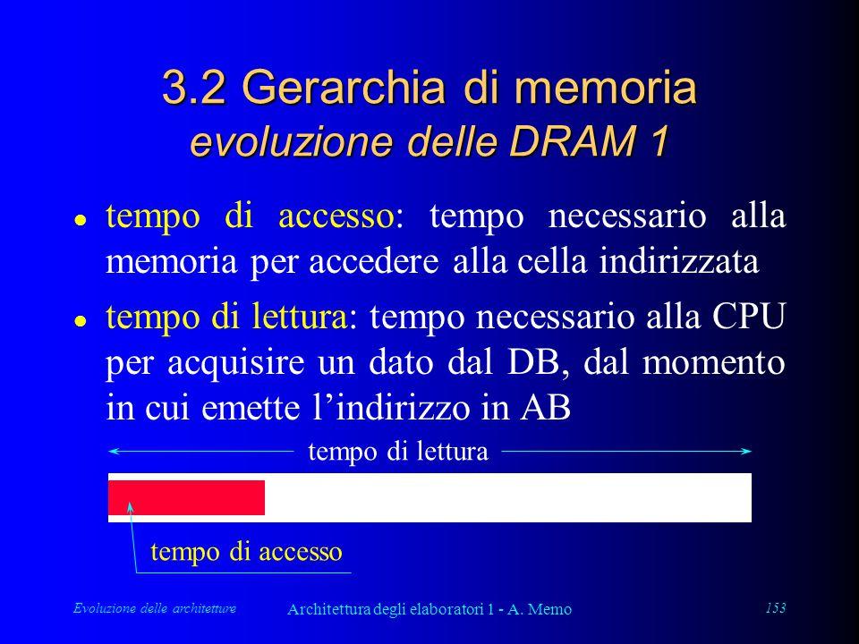 Evoluzione delle architetture Architettura degli elaboratori 1 - A. Memo 153 3.2 Gerarchia di memoria evoluzione delle DRAM 1 l tempo di accesso: temp