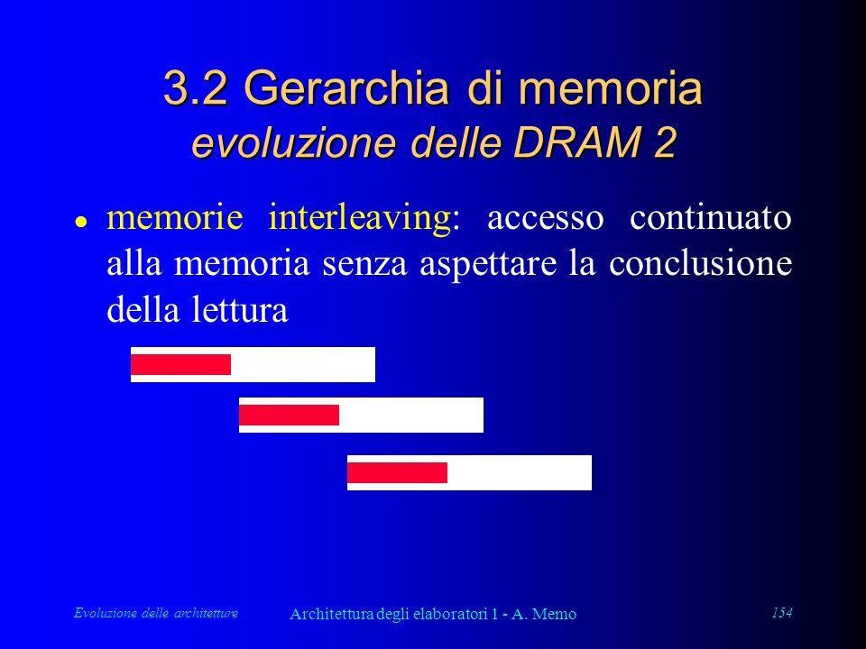 Evoluzione delle architetture Architettura degli elaboratori 1 - A. Memo 154 3.2 Gerarchia di memoria evoluzione delle DRAM 2 l memorie interleaving: