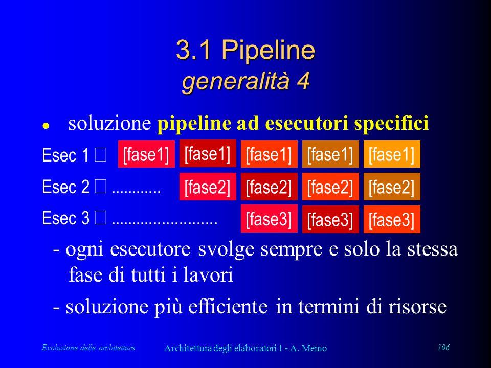 Evoluzione delle architetture Architettura degli elaboratori 1 - A. Memo 106 3.1 Pipeline generalità 4 l soluzione pipeline ad esecutori specifici Ese