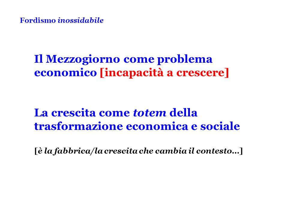 Fordismo inossidabile Il Mezzogiorno come problema economico [incapacità a crescere] La crescita come totem della trasformazione economica e sociale [è la fabbrica/la crescita che cambia il contesto…]