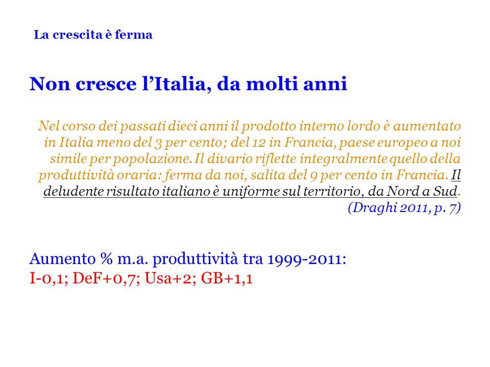 La crescita è ferma Non cresce l'Italia, da molti anni Nel corso dei passati dieci anni il prodotto interno lordo è aumentato in Italia meno del 3 per cento; del 12 in Francia, paese europeo a noi simile per popolazione.