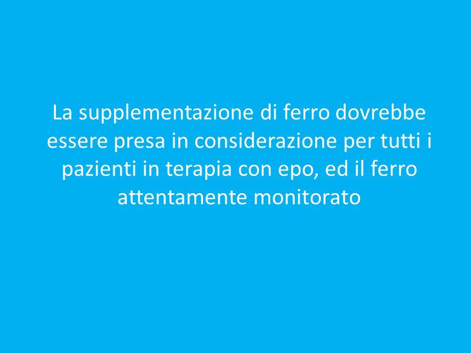 La supplementazione di ferro dovrebbe essere presa in considerazione per tutti i pazienti in terapia con epo, ed il ferro attentamente monitorato