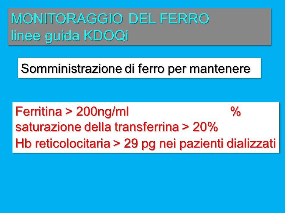 MONITORAGGIO DEL FERRO linee guida KDOQi Somministrazione di ferro per mantenere Somministrazione di ferro per mantenere : Ferritina > 200ng/ml % satu