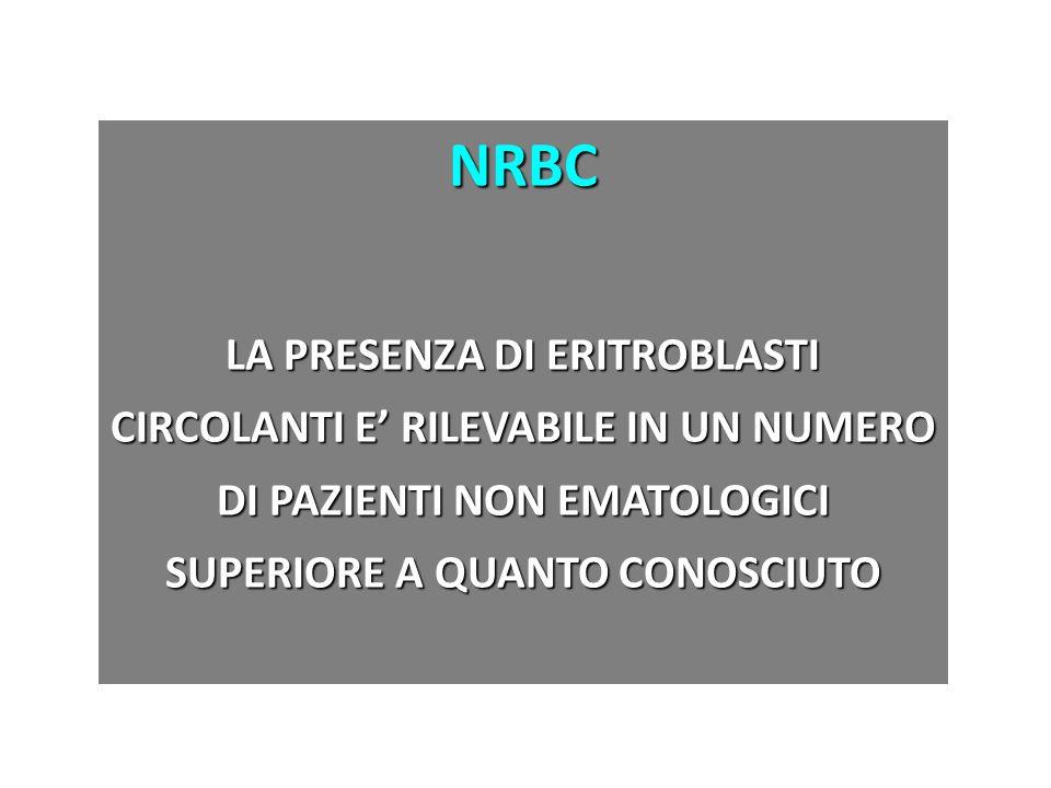 NRBC LA PRESENZA DI ERITROBLASTI CIRCOLANTI E' RILEVABILE IN UN NUMERO DI PAZIENTI NON EMATOLOGICI SUPERIORE A QUANTO CONOSCIUTO