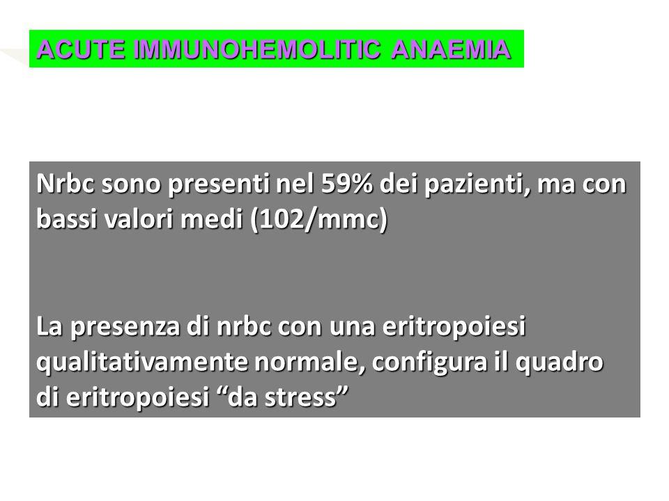 ACUTE IMMUNOHEMOLITIC ANAEMIA Nrbc sono presenti nel 59% dei pazienti, ma con bassi valori medi (102/mmc) La presenza di nrbc con una eritropoiesi qua