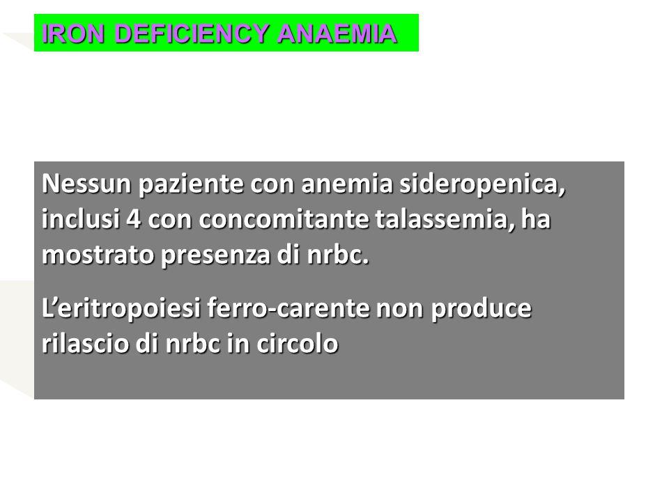 IRON DEFICIENCY ANAEMIA Nessun paziente con anemia sideropenica, inclusi 4 con concomitante talassemia, ha mostrato presenza di nrbc. L'eritropoiesi f