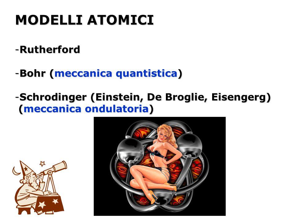 MODELLI ATOMICI -Rutherford -Bohr (meccanica quantistica) -Schrodinger (Einstein, De Broglie, Eisengerg) (meccanica ondulatoria) (meccanica ondulatori