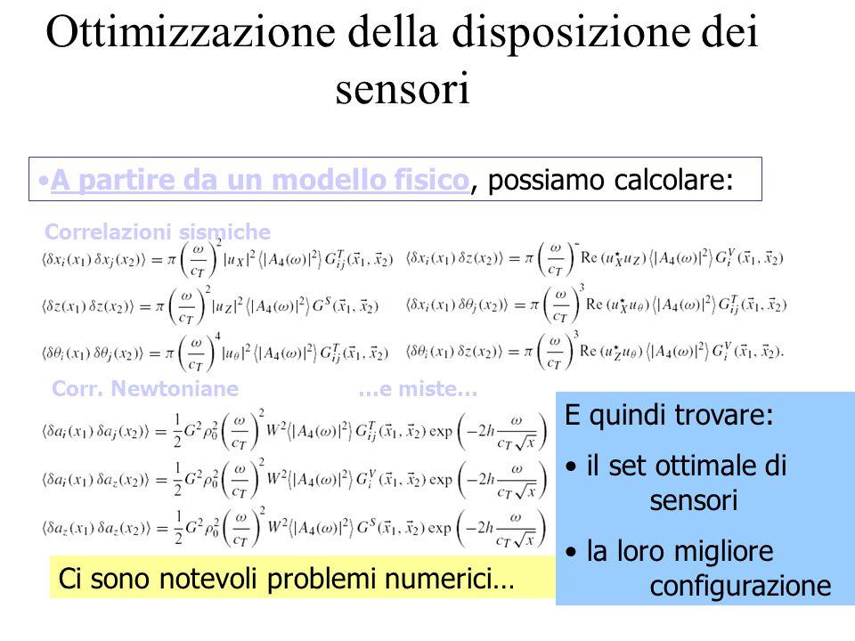 Ottimizzazione della disposizione dei sensori A partire da un modello fisico, possiamo calcolare: Correlazioni sismiche Corr.