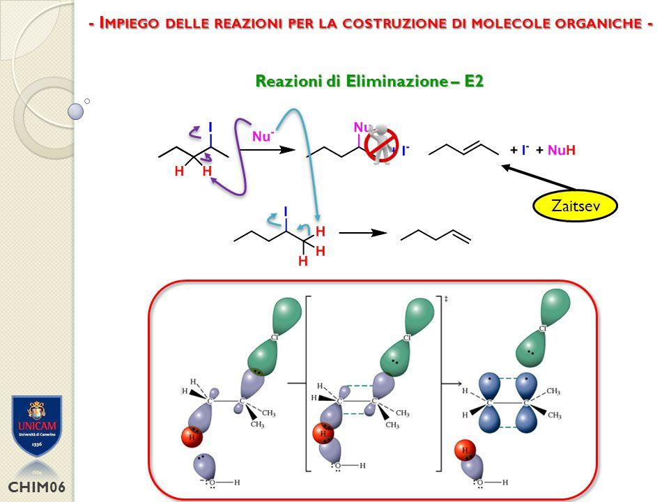 CHIM06 Reazioni di Eliminazione – E1 - I MPIEGO DELLE REAZIONI PER LA COSTRUZIONE DI MOLECOLE ORGANICHE -