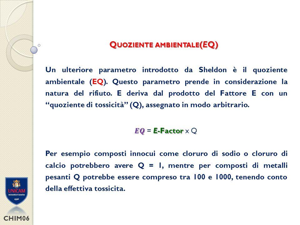 CHIM06 P ROCESS M ASS I NTENSITY (PMI) E-factor = Process mass intensity - 1 FACILE DA CALCOLARE