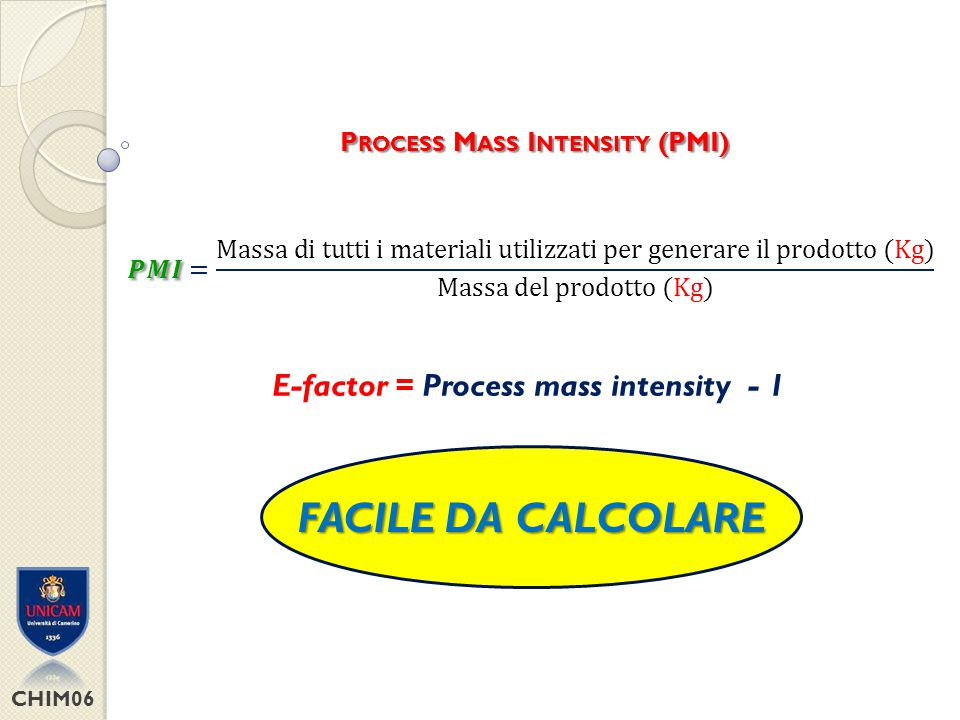 CHIM06 P ROCESS M ASS I NTENSITY (PMI) E-factor = Process mass intensity - 1 FACILE DA CALCOLARE