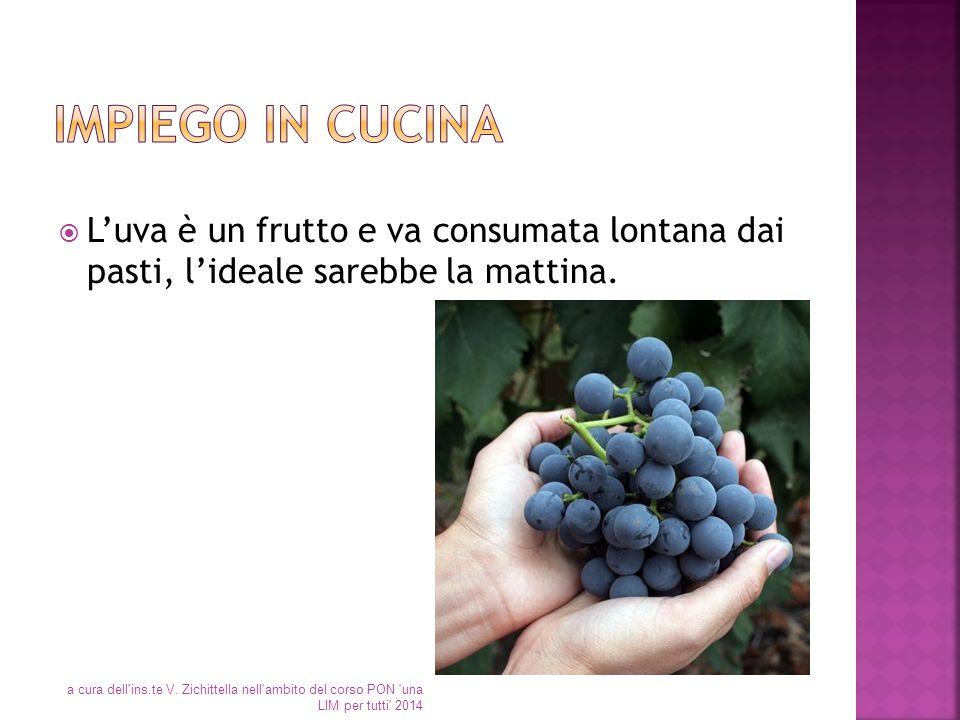  L'uva è un frutto e va consumata lontana dai pasti, l'ideale sarebbe la mattina. a cura dell'ins.te V. Zichittella nell'ambito del corso PON 'una LI
