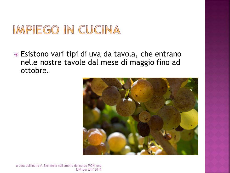  Esistono vari tipi di uva da tavola, che entrano nelle nostre tavole dal mese di maggio fino ad ottobre. a cura dell'ins.te V. Zichittella nell'ambi