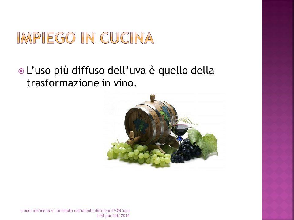  L'uso più diffuso dell'uva è quello della trasformazione in vino. a cura dell'ins.te V. Zichittella nell'ambito del corso PON 'una LIM per tutti' 20