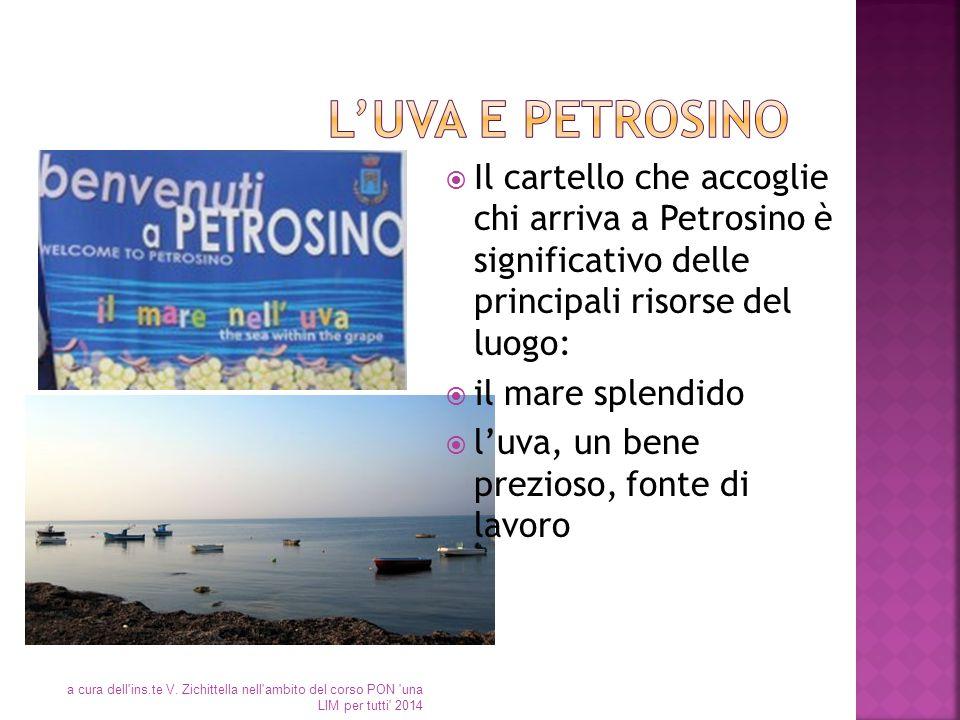  Il cartello che accoglie chi arriva a Petrosino è significativo delle principali risorse del luogo:  il mare splendido  l'uva, un bene prezioso, f