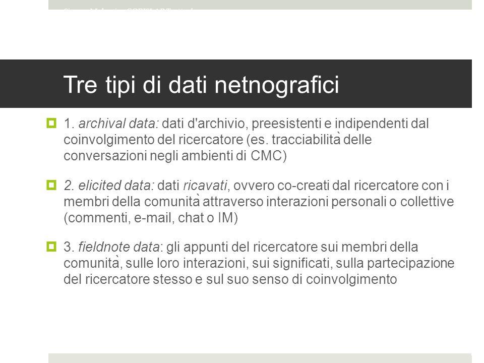 Tre tipi di dati netnografici  1.