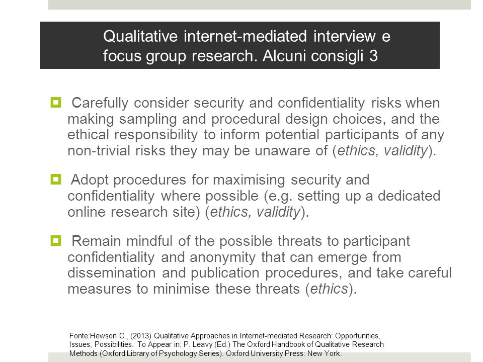 Qualitative internet-mediated interview e focus group research.