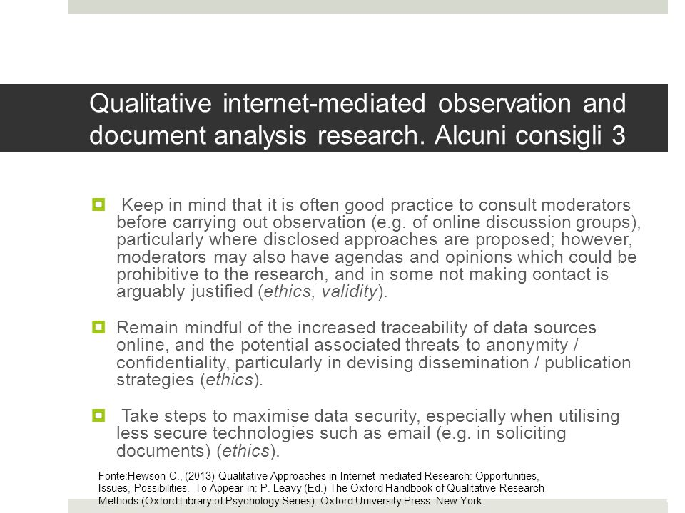 Qualitative internet-mediated observation and document analysis research.