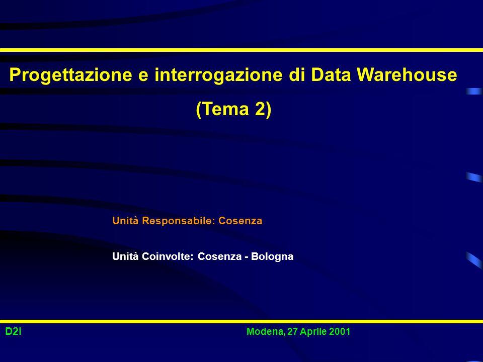 D2I Modena, 27 Aprile 2001 Progettazione e interrogazione di Data Warehouse (Tema 2) Unità Responsabile: Cosenza Unità Coinvolte: Cosenza - Bologna