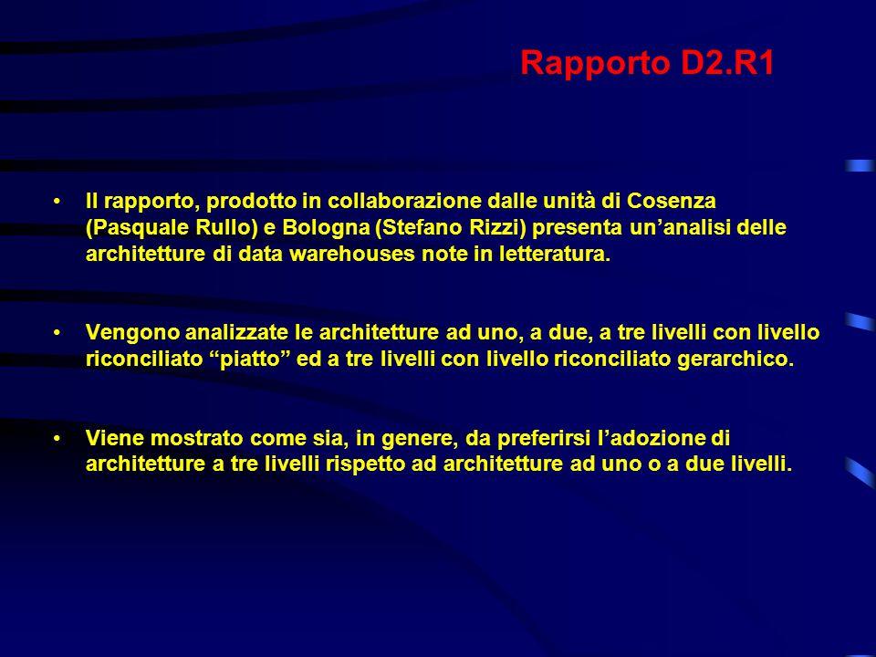 Rapporto D2.R1 Il rapporto, prodotto in collaborazione dalle unità di Cosenza (Pasquale Rullo) e Bologna (Stefano Rizzi) presenta un'analisi delle architetture di data warehouses note in letteratura.