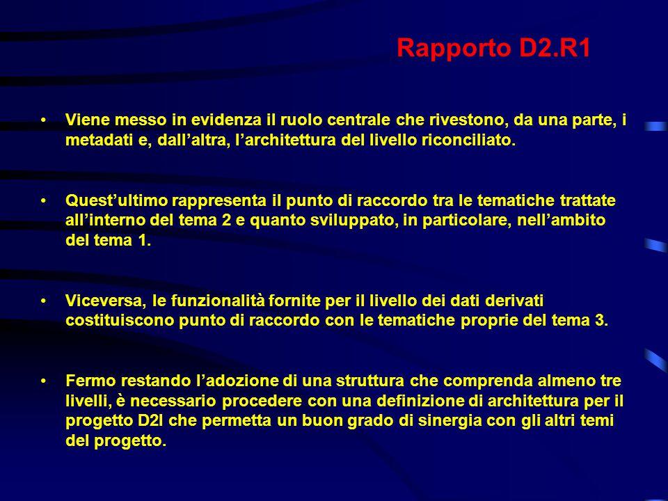 Rapporto D2.R1 Viene messo in evidenza il ruolo centrale che rivestono, da una parte, i metadati e, dall'altra, l'architettura del livello riconciliato.